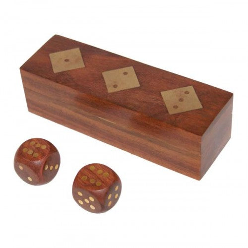 Dice Box with Brass Inlay