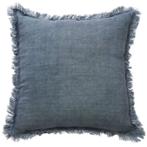 Monaco Fringe Linen Cushion | Grey