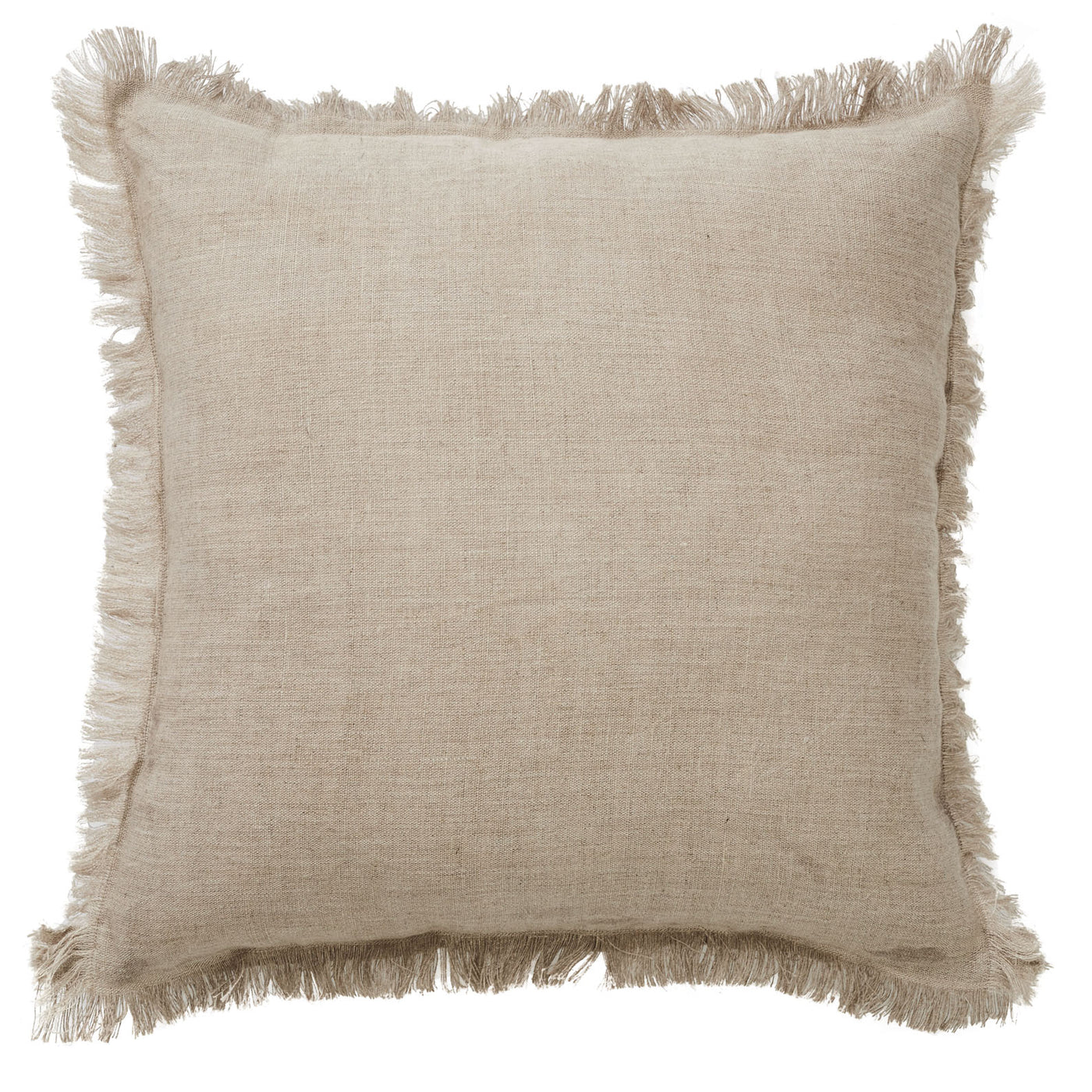 Monaco Fringe Linen Cushion | Natural
