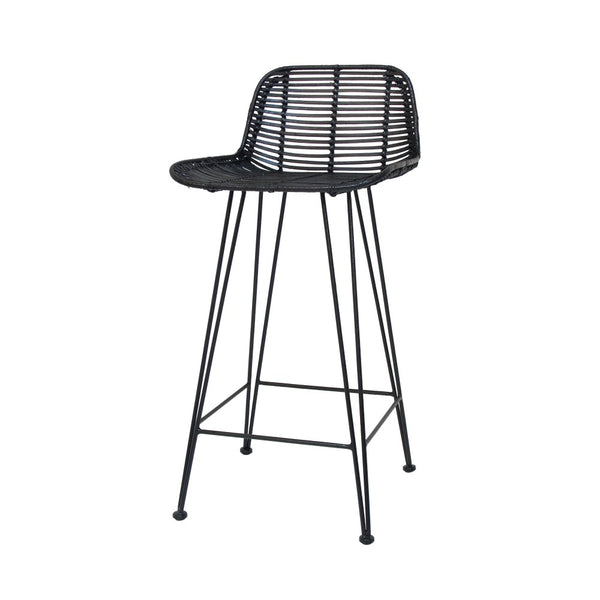 Rattan Bar Stool | Black