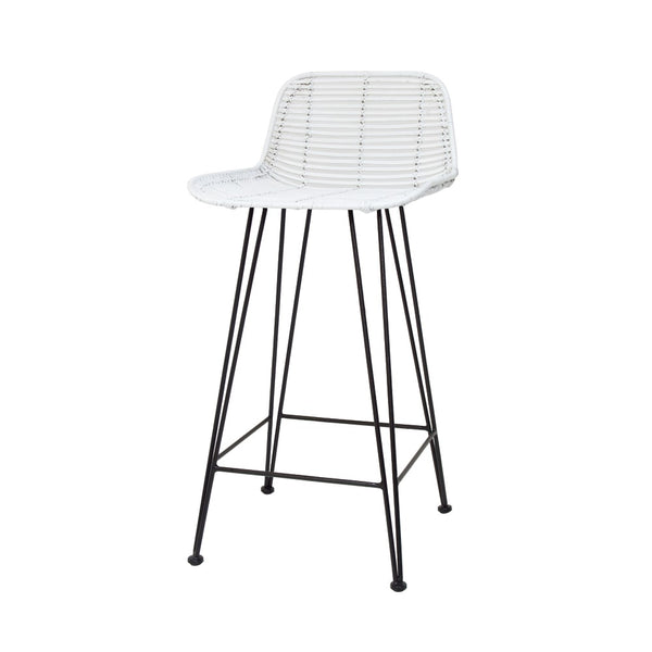 Rattan Bar Stool | White
