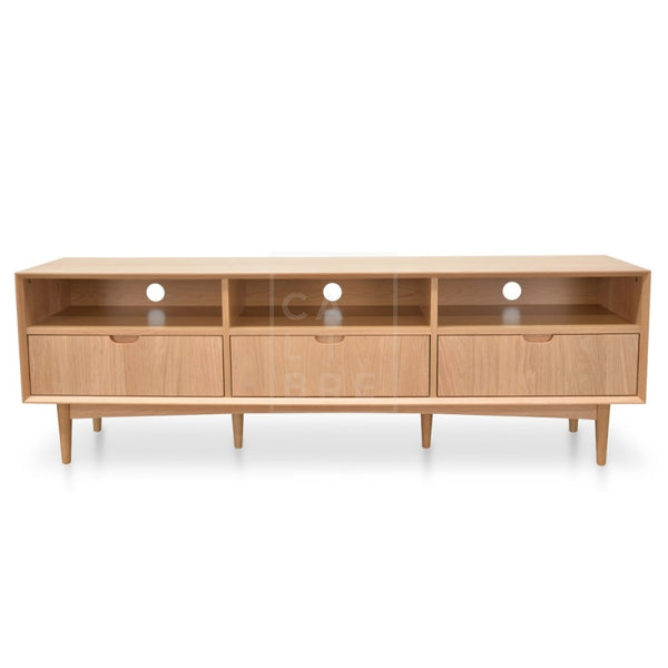 Scandinavian  TV Entertainment Unit With 3 Drawers - Natural (180cm)