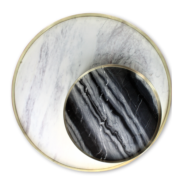 The Orbit Tray - XL (white marble and polished brass)