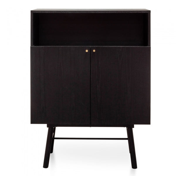2 Doors Side Cupboard - Black Veneer
