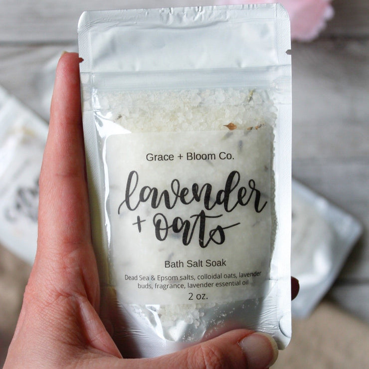 Now you can sample our popular bath salts with these single-use bags from Grace + Bloom, each with 2 ounces of bathtime bliss