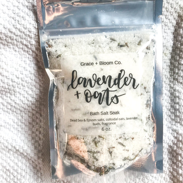 Lavender + Oats Bath Salts: relaxing and rest-inducing lavender blends with whispers of chamomile and vanilla in these bath salts made with Dead Sea salt, magnesium-rich Epsom salts, fragrant dried lavender flower buds, lavender essential oil, and skin soothing oats.