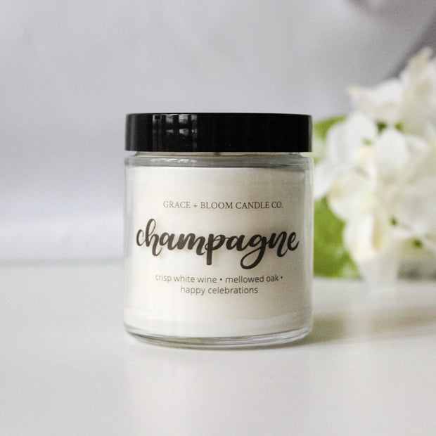 Champagne | Small Soy Candle | Wedding Favors - Grace + Bloom Co