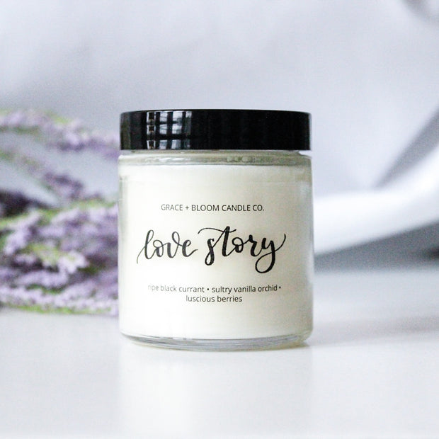Love Story | Small Soy Candle | Wedding Favors - Grace + Bloom Co
