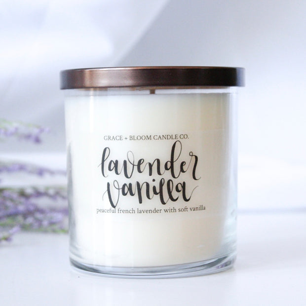 Lavender Vanilla Soy Candle - Grace + Bloom Co