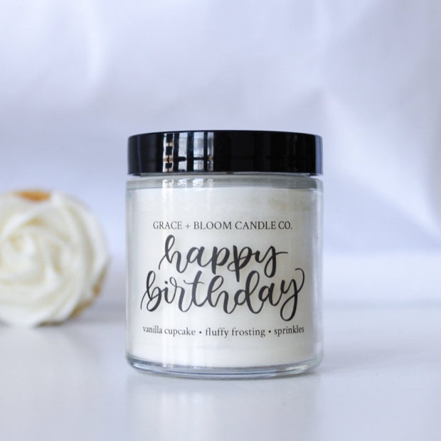 Happy Birthday | Small Soy Candle | Party Favors - Grace + Bloom Co