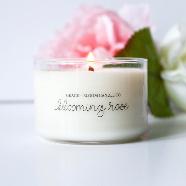 Blooming Rose Mini Candles - Grace + Bloom Co