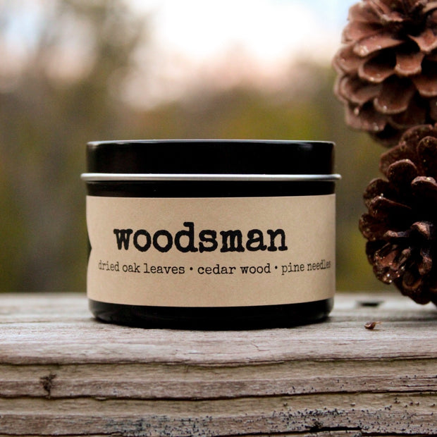 woodsman | 4 oz travel tin candles - Grace + Bloom Co