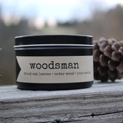 woodsman candle from Grace + Bloom: with the scents of dried oak leaves, cedarwood, and pine needles, you can enjoy the fragrances of the great outdoors, even if you aren't really the type to go out into the woods yourself.