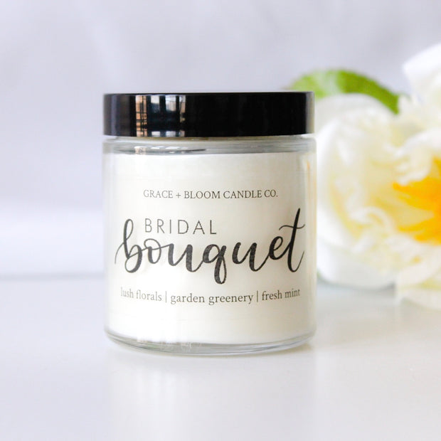 Bridal Bouquet candle: roses, lilacs, and fresh spring florals balanced by garden greenery and fresh mint.