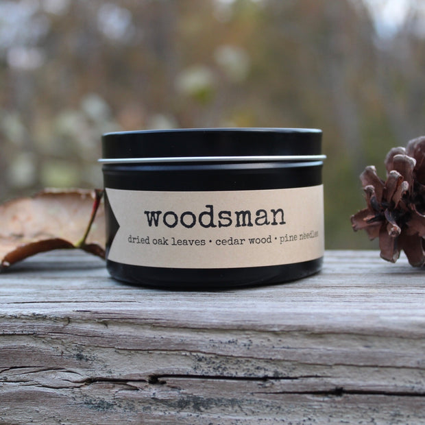 woodsman | 8 oz travel tin candles - Grace + Bloom Co