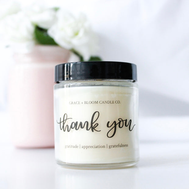"The label says ""Thank You"" and the candle is scented in sweet, rich vanilla layer cake topped with fluffy buttercream frosting swirls. You choose who deserves one!"