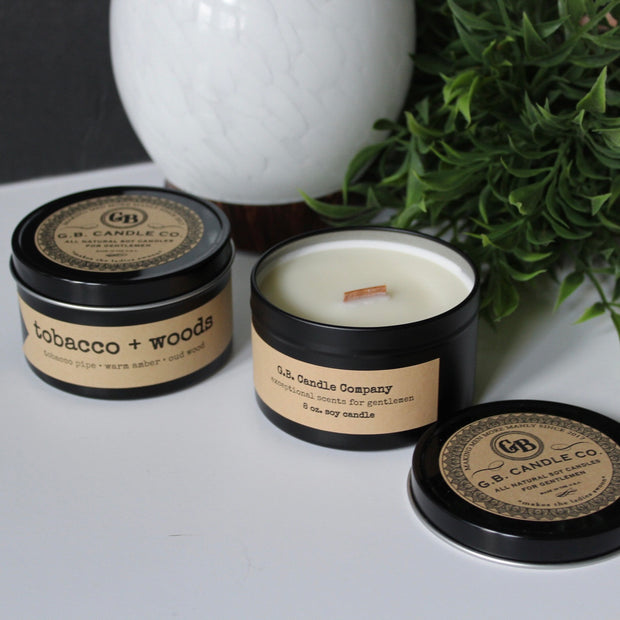 tobacco + woods | 8 oz travel tin candles - Grace + Bloom Co