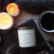 Christmas holiday candle, Grace + Bloom: Set a fun holiday mood or give your rooms a cozy ambiance for a quiet night at home with the scents of balsam fir, mild citrus, and earthy moss.