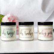 Pretty scented candles for baby shower favors, birth announcements, and gender reveal gifts