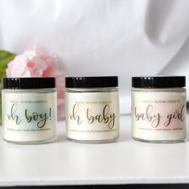 New Baby Candles | Baby Shower | Gender Reveal - Grace + Bloom Co