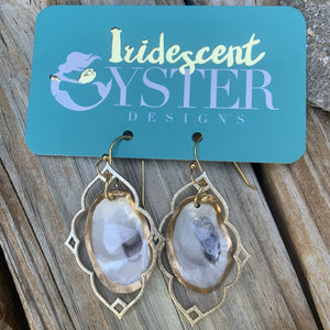 Handmade Gold Oyster Earrings from Iridescent Oyster Designs