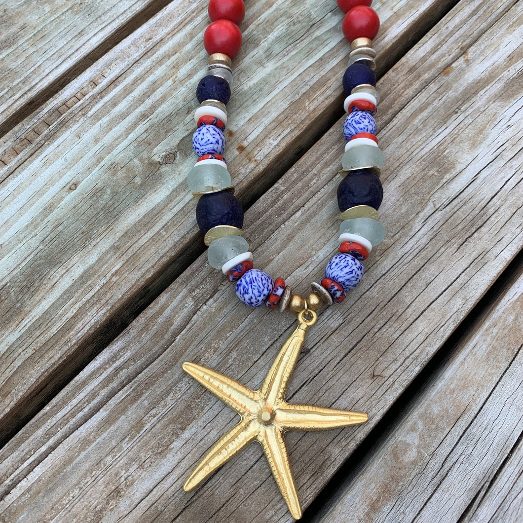 The Sea Star Necklace in Red