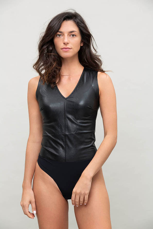 Faux Leather V-neck Bodysuit