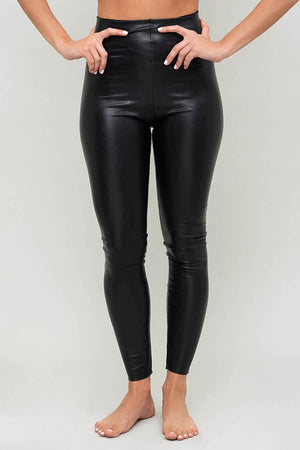 Faux Leather Legging with Perfect Control in Black