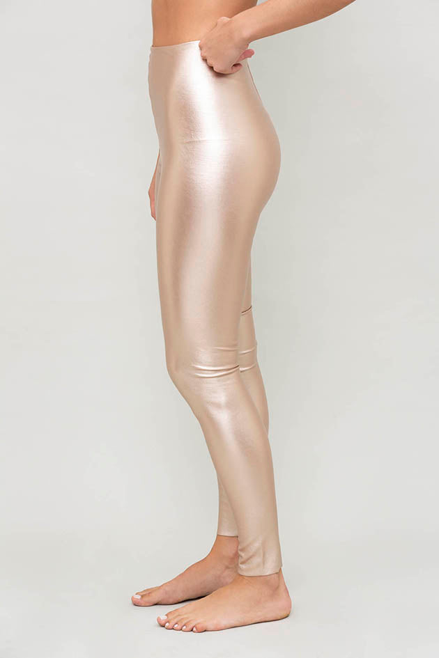 Faux Leather Legging with Perfect Control in Rose Gold