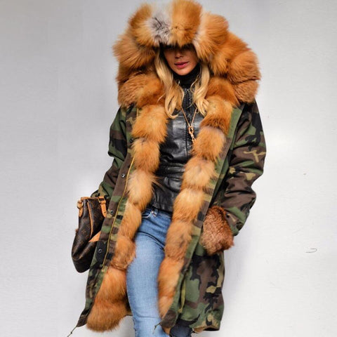 Real Fox Fur Army Parka Genuine fox Fur Outwear
