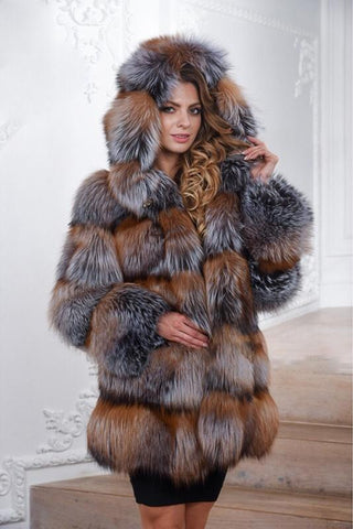 Natural Real Silver Fox Fur Luxury Long Thick Warm Fur Parka