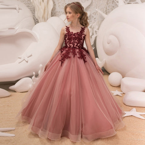 Princess Flower Girls Tulle Sleeveless Double V-neck Lace Ball Gown Dress