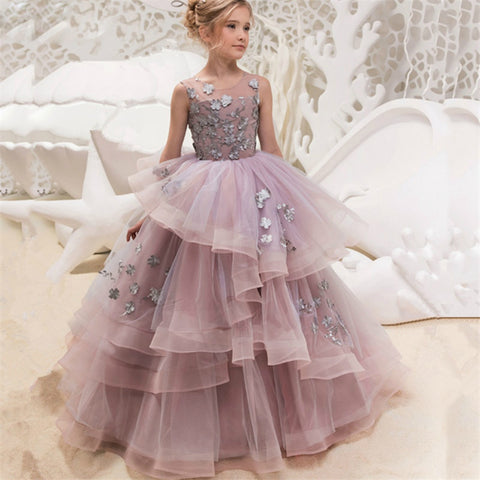 Princess Flower Blush Pink Girls Ball Gown Cloud Beaded Gown Dress