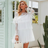 Elegant multi-layer lace mesh Hollow out long sleeve pleated dress