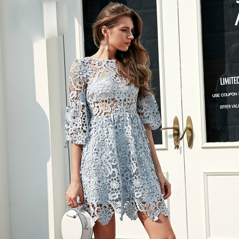 164c503325d2 Hollow out blue lace High waist perspective Flare sleeve pleated short dress  ...