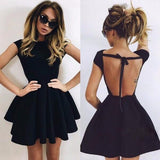 Elegant Lace Up Hollow Out Backless Short Body-con A-line Mini Night Dress