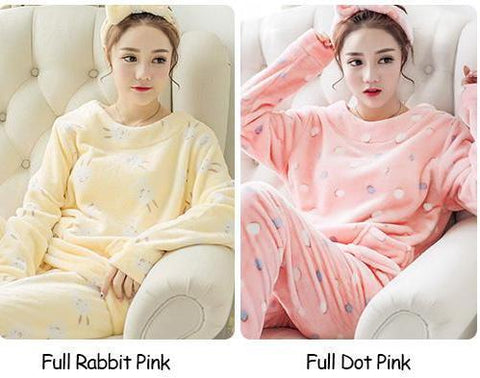 Rabbit Flannel Pajamas Sets Cute Winter Warm Soft Sleepwear Suit Unisex