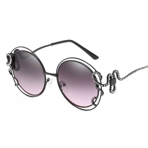 Luxury Diamond Unique Rhinestone Snake Designer Sun Glasses