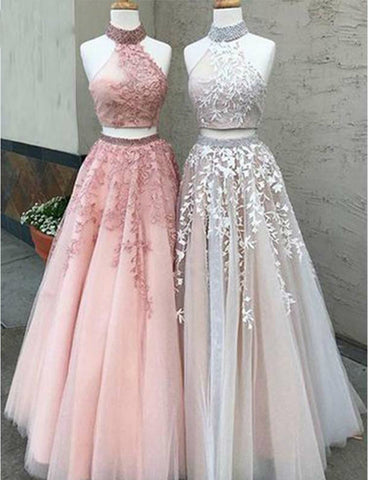 Two Pieces Prom Dresses Long Appliques Floor Length Tulle Formal Evening Party Dress