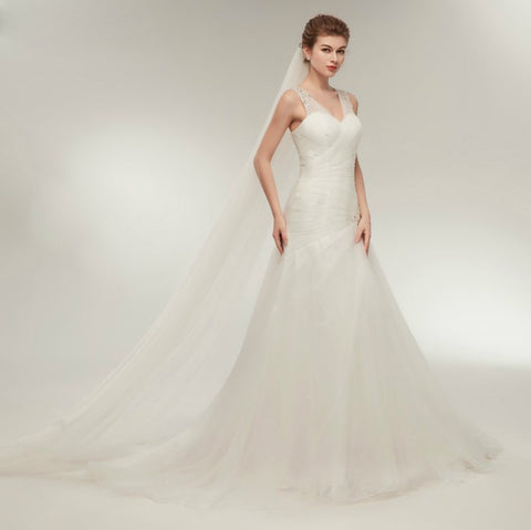 Elegant V-Neck Mermaid Beaded Crystal Court Train Wedding Gown Lace Up Dress
