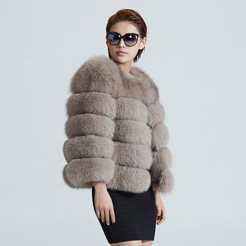 Real Fox Fur Coat Short Winter Fur Jacket Outerwear