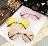 Transparent Clear Lens Lady Rimless Sun Glasses