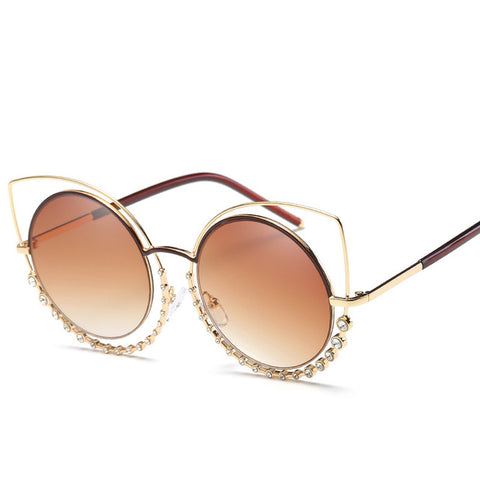 Luxury Cat Eye Coating Reflective Mirror Diamond Decoration Sun Glasses