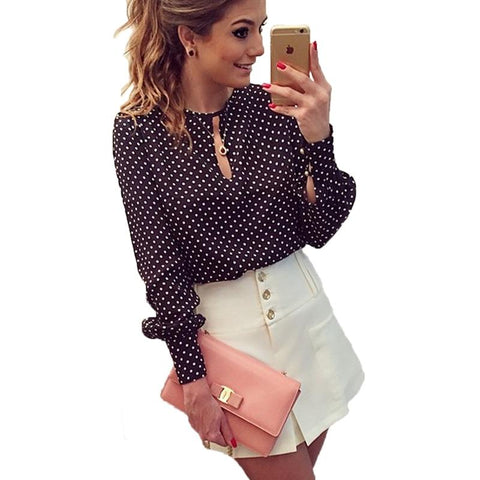 Casual O-Neck Long Sleeves Blouses Chiffon Polka Dots Shirt