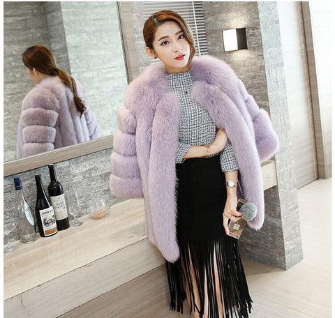 Long Real Fox Fur Coat Winter Genuine Natural Fur Jacket