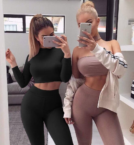 Two Piece Set Sexy Skinny Pants Crop Top