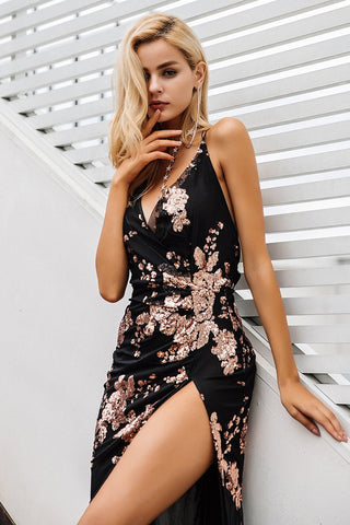 Sexy lace up halter sequin party Backless high split maxi dress