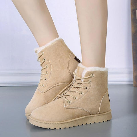 Suede Ankle Snow Warm Fur Plush Insole Boot