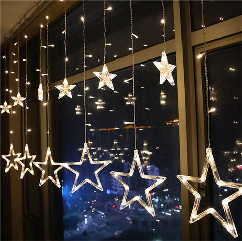 Christmas Lights AC 220V EU AC 110V US Plug Romantic Fairy Star LED Curtain String Lighting
