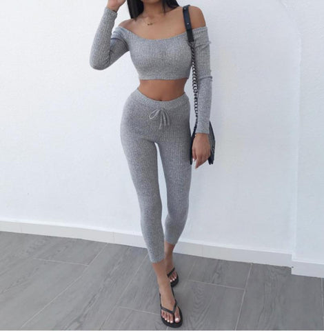 Sexy Grey Two Piece Set Off Shoulder T Shirt Crop Top